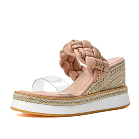 Wedge Bohemian Cute 10 cm High Heel Beach Blushing Pink Slip On Open Toe Espadrilles Sandals