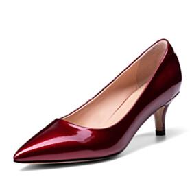 Classic Comfortable Kitten Heel Burgundy Business Casual Stiletto Heels Low Heels Beautiful Pumps