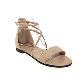 Lacing Up Classic Peep Toe Bohemian Strappy Beach Footear Sandals Ankle Lace Up Flat Shoes Suede