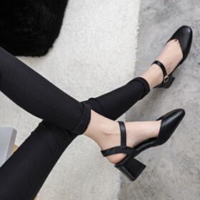 Fashion 2 inch Low Heel Black Round Toe Thick Heel Full Grain Patent Comfortable Closed Toe Block Heel Sandals