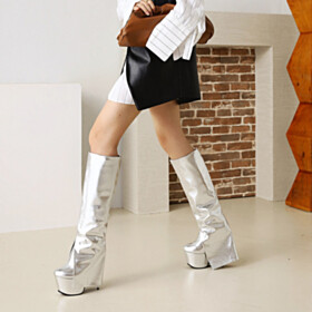 Round Toe Modern Knee High Boot Closed Toe Sparkly Going Out Shoes Patent Leather 6 inch High Heeled Tall Boots Silver Metallic