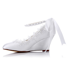 Comfort Mid High Heeled Lace Wedding Shoes With Ankle Strap Wedges With Pearls Elegant With Bow Slip On White