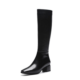 Fashion Fur Lined Black Comfort Thick Heel Mid Calf Boot Leather Winter Low Heel Riding Closed Toe