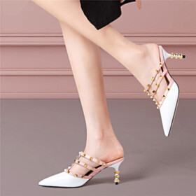 Going Out Shoes 6 cm Heeled Sandals For Women Stilettos Studded White Mules Evening Party Shoes Modern Designer Leather