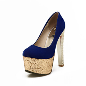 Velvet Pumps Platform Blue Round Toe Sparkly Beautiful 6 inch High Heel Slip On Thick Heel Going Out Shoes Party Shoes