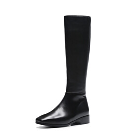 Block Heels Riding 4 cm Low Heel Leather Boots Vintage 2020