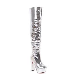 Silver Block Heel Faux Leather High Heel Chunky Platform Heel Red Bottom Thigh High Boot
