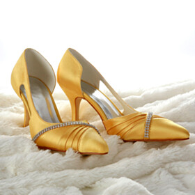 Yellow Wedding Shoes For Bridal Slip On Stiletto Pumps 3 inch High Heel