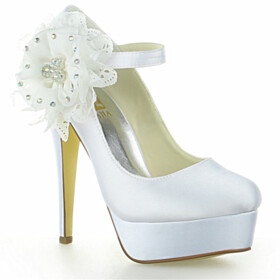 With Ankle Strap High Heel With Rhinestones Beautiful Platform Dress Shoes Bridals Wedding Shoes Closed Toe Pumps