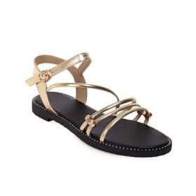 Flats Open Toe Sandals Gladiator Metallic Cute Beach Bohemian