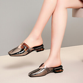 Comfort Sparkly Bronze Block Heel Chunky Sandals For Women Summer Low Heel Mules Metallic Leather Slipper Square Toe
