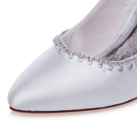 Stiletto Satin White With Rhinestones Pointed Toe Elegant Pumps 3 inch High Heel Wedding Shoes For Women
