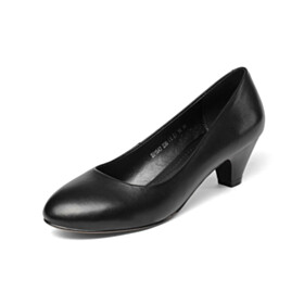Classic Low Heeled Cone Heel Office Shoes Comfortable Leather Red Bottoms