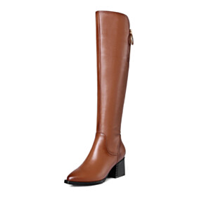 Vintage Tall Boot 6 cm Heel Pointed Toe Classic Knee High Chunky Fur Lined Riding Leather Block Heels