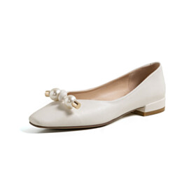 Flats Loafers Business Casual White Closed Toe Cute Womens Shoes Leather