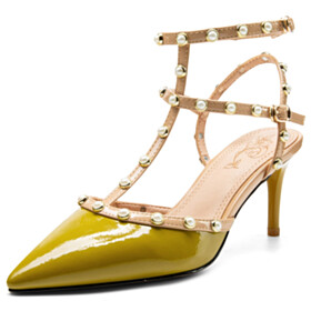 Sexy 9 cm High Heels Lime Green With Ankle Strap Gladiator Sandals Leather With Pearls Classic Pointed Toe Business Casual Stiletto Heels Designer