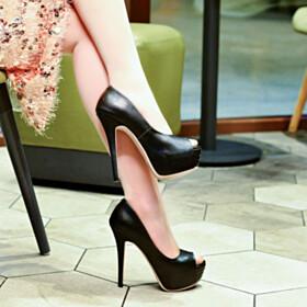 Platform Peep Toe Black Elegant Patent Office Shoes High Heels Classic Pumps