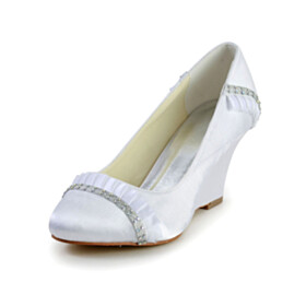 Wedge White Round Toe 3 inch High Heel Dress Shoes With Rhinestones Pumps Satin