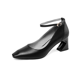 Fashion 6 cm Mid Heel Comfortable With Ankle Strap Pumps Leather