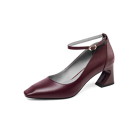 Mid Heels Chunky Comfort Sculpted Heel Modern With Ankle Strap Pumps