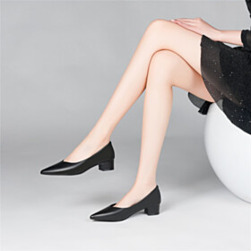 Low Heeled Comfort Dress Shoes Chunky Heel Leather Shoes Grained Classic Pumps Black Block Heel 2021