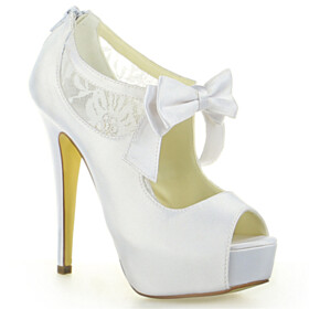 Stiletto Platform Open Toe Elegant With Bowknot Ivory Lace 5 inch High Heel Wedding Shoes For Women Dress Shoes