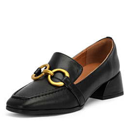 Leather Classic With Metal Jewelry Closed Toe Slip On Low Heeled Vintage Block Heels