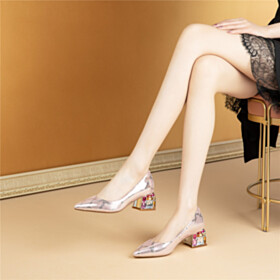 Pointed Toe Formal Dress Shoes Metallic With Crystal Mid Heel Pumps Sparkly Block Heels Natural Leather Snake Print