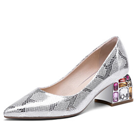 Metallic Leather Silver Fashion Spring Chunky Heel Sparkly Snake Printed With Crystal Mid High Heeled Pumps Dress Shoes Block Heels