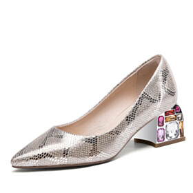 Block Heels Dress Shoes Sparkly Snake Printed Thick Heel Mid High Heeled Champagne 2021 With Crystal Pumps Leather Metallic