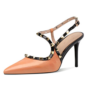 High Heels Ankle Strap Studded Orange Beautiful Going Out Footwear Sandals Embossed Designer Stiletto Business Casual