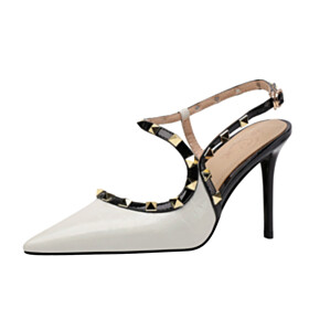 3 inch High Heeled Designer Business Casual Studded Stilettos Sandals White