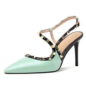 Stilettos Sexy Sandals For Women Elegant High Heels Party Shoes Studded Designer Ankle Strap Embossed Leather Mint Green