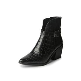 Winter Vintage Pointed Toe 6 cm Mid Heels Fur Lined Ankle Boots Block Heels