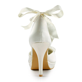 Bowknot With Pearl With Ankle Strap Spring 4 inch High Heeled Bridals Wedding Shoes Dress Shoes White Stilettos