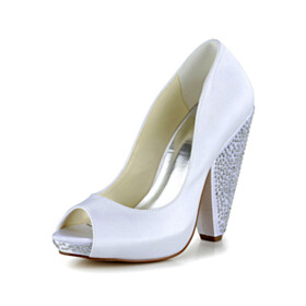 Party Shoes Fashion 10 cm High Heels With Rhinestones Thick Heel Cone Heel Pumps Bridal Shoes White