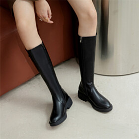 Vintage Black Going Out Footwear With Metal Jewelry Riding Patent Leather Knee High Boots Flats Round Toe