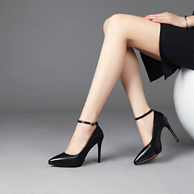 Leather 10 cm High Heel Pumps Black Ankle Strap Pointed Toe Office Shoes Classic Slip On