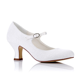 White Bridal Shoes 6 cm Heel Thick Heel Lace Pumps Ankle Strap Almond Toe
