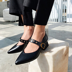6 cm Heeled Pointed Toe Business Casual Mary Jane Comfort