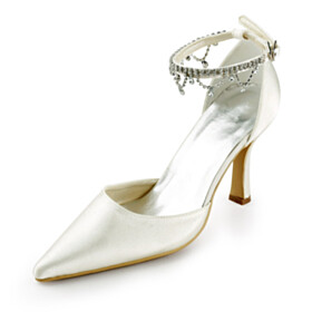 Formal Dress Shoes 8 cm High Heels Rhinestones Beautiful Ivory Evening Shoes Ankle Strap