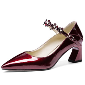 Chunky Hee Pumps Flowers Mid Heel Womens Shoes Burgundy Elegant With Ankle Strap