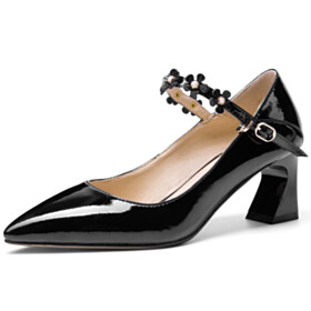 Pearls Flower Ankle Strap Pumps Chunky Black Mid High Heeled Leather Classic Dress Shoes