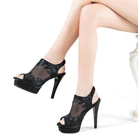 Party Shoes Platform Black Sandals Stilettos Sexy High Heel Tulle Peep Toe