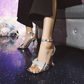 High Heel 2021 Womens Sandals Patent Ankle Strap Going Out Footwear Stilettos Evening Party Shoes Metallic With Rhinestones