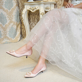 Shoes With Pearls Low Heels Wedding Shoes For Bridal Comfortable Kitten Heel