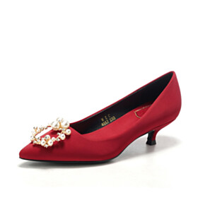 Burgundy Elegant Low Heel Pearl Pumps Comfortable Wedding Shoes For Women Pointed Toe