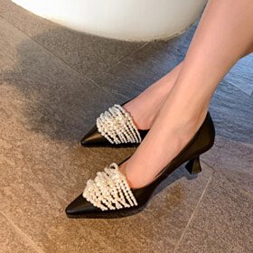 Leather Shoes Pointed Toe Black 6 cm Mid Heel Pumps Fashion Business Casual Beautiful