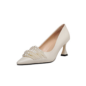 Thick Heel Pointed Toe Mid High Heeled Pumps Elegant White