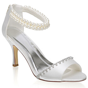 Sandals Open Toe 3 inch High Heel Ankle Strap White Dress Shoes Stiletto Wedding Shoes For Bridal